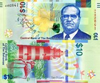 """Bahamas 10 Dollar Pick #: 79a 2016 UNCOther 2016 - Banknote of the Year NOMINEE - Caribbean Islands Currency Multicolored Sir Stafford Sansa; map, yellow flower, butterfly; Lighthouse; flamingosNote 6"""" x 2 3/4"""" North and Central America Sir Stafford Sansa"""