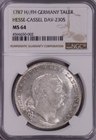 NGC-MS64 1787H//FH GERMANY HESSE-CASSEL TALER SILVER FULL LUSTER