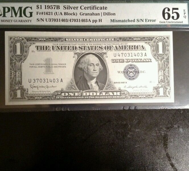 1957B $1 Silver certificate MISMATCH SERIAL NUMBERS PMG