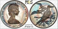 1975-FM BVI ONE DOLLAR PCGS PR65DCAM COLOR TONED ONLY 3 GRADED HIGHER