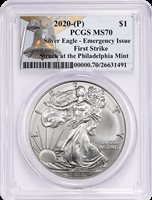 """2020-P """"Emergency Issue"""" Silver American Eagle MS-70 Quality"""