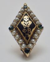 Vintage 1916 10K Phi Beta Pi Medical Fraternity Pin Seed Pearls & Emeralds
