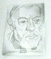 2018 Topps Star Wars Sketch Card A New Hope B&W Obi Wan kenobi JOSHUA BOMMER 1/1