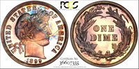 Exquisite and Under-graded 1899 Proof Barber Dime CAC 1899 Proof Barber Dime PCGS Gold Shield Holder PR-67 CAC. The proper grade would be PR-67+.