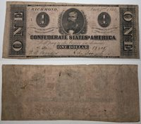 1862 $1 CSA Confederate States Of America Currency Note 58408 PF-2 T-55
