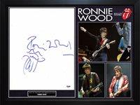 Ron Wood Signed Rolling Stones 11×14 Canvas W Tongue Art Sketch PSA Framed Displ