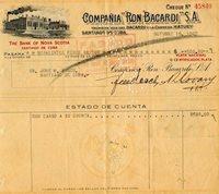 1947 Cuba Bacardi Rum Co. Check To The President Jose Pepin Bosch