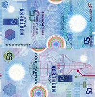"Ireland, North 5 Pounds Pick #: 203a 1999 UNCOther Northern Bank - Polymer Blue Transparent Earth, Sun, and Star of Bethlehem; Space shuttle Note 5 1/4"" x 2 3/4"" Europe Northern Bank and Star"
