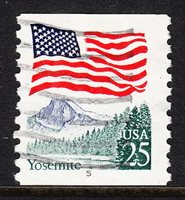 USA — SCOTT 2280a — YOSEMITE (MOTTLED TAGGING) #5 PNC — USED — RED INK IN NUMBER