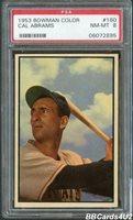 1953 Bowman Color #160 CAL ABRAMS PSA 8 NM-MT Low Pop 1/38! Pirates Last in Set!