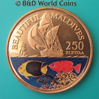 1996 MALDIVE ISLANDS 250 RUFIYAA COPPER PROOF PLAIN EDGE MALDIVES COLORED FISH