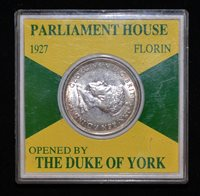 1927 Australia 1 One Florin - George V Parliament House cased XZH206