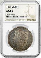 1878 CC $1 Morgan Silver Dollar NGC MS60