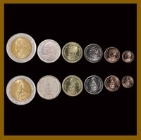 NC// 2018 UNC THAILAND COINS SET6  25 50 SATANG 1 2 5 10 BAHT BIMETALIC NEW K
