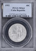 1952 Republic Anniversary 40 Centavos – Silver – PCGS MS64
