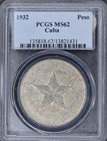 1932 Star Silver Peso – PCGS MS62