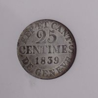 1839 Swiss Cantons 25 Centimes Geneva, Extra Fine