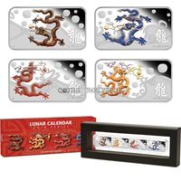 1oz Silver Rectangle Coin 2012 Red Cook Islands 1$ Year of the Dragon
