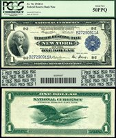 US Currency 1918 $1 Federal Reserve Bank Note S/N B27290911A