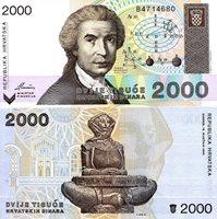 "Croatia 2,000 Dinara Pick #: 23 1992 UNCOther Republika Hrvatska Multicolored Ruder Boskovic; Astrology symbols; Statue of Glagolica Mother Croatia Note 5 1/4"" x 2 1/2 "" Europe Baptism Font"