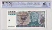 1000 Pesos Argentinos Argentinien 1000 Pesos , G San Martin 1983 Specimen Pcgs 63 Opq -p 317s