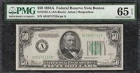 *BOSTON* 1934A $50 Federal Reserve Note - PMG Gem Uncirculated CU 65EPQ - C2C