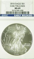 2010 MS69 NGC EARLY RELEASE SILVER EAGLE 1 OUNCE