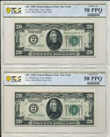 Pair of Consecutive Serial Number 1928 $20 Fed Reserve Notes PCGS AU58 PPQ