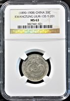 China Kwangtung (1890-1908) 20 Cents L&M 135 Y-201 NGC graded MS 63