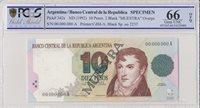 Argentinien 10 Pesos Manuel Belgrano 1992 Spécimen Pcgs 66 Opq