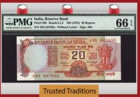 20 Rupees 1975 India Pmg 65 Epq Gem Uncirculated Population Of 3!
