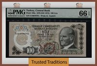 100 Lira 1970 (nd 1972) Turkey Pmg 66 Epq Gem Uncirculated Pop Five!