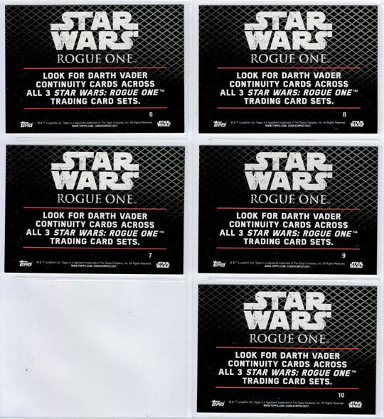 Star Wars Rogue One Series 1 Darth Vader Continuity Trading Cards Full Set of 5