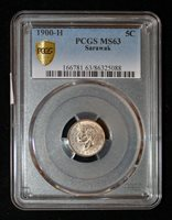 PCGS MS63 1900-H Sarawak 5 Cents - rare coin