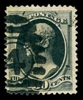 Scott #190, 1879 30c Full Black Hamilton. Used VF. Intense color. Four margins. Numeral 4 cancel. (Scott 2011 $100.)