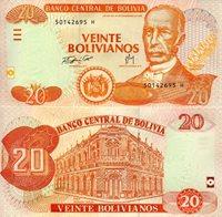 "Bolivia 20 Bolivianos Pick #: 234 2007 UNC Orange & Green Pantaleon Dalence; Crest; BuildingNote 5 1/2"" x 2 3/4"" South America Pantaleon Dalence"