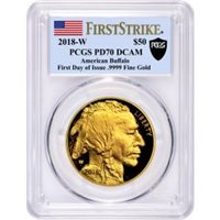 2018 W $50 1oz Proof 24k Gold Buffalo PCGS PR70 DCAM First Strike First Day of Issue Flag Label