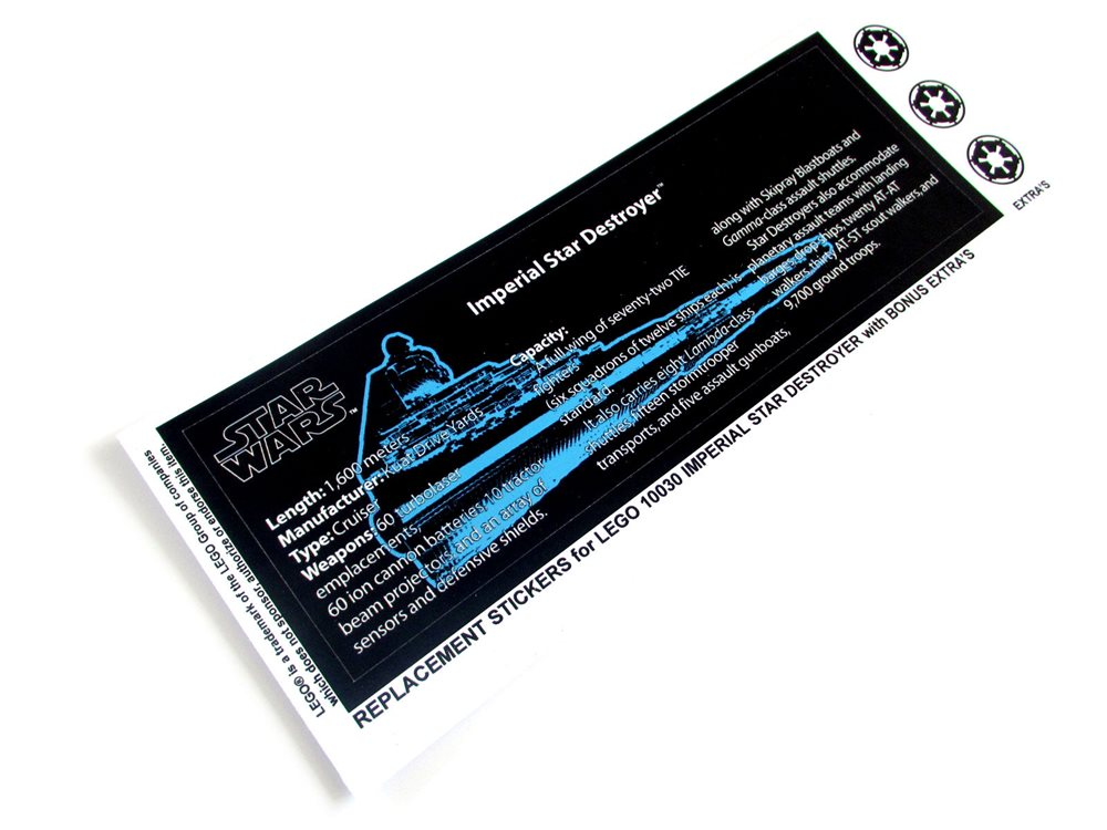ETC CUSTOMISED STICKERS for Lego 6211 IMPERIAL STAR DESTROYER MODELS BONUS