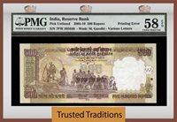 500 Rupees Pk Unlisted 2005-10 India Rare Double Printing Error Pmg 58 Epq