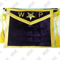HAND EMBROIDER MASONIC OES WORTHY PATRON / MATRON APRON-HSE