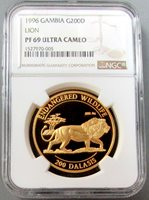 1996 GOLD GAMBIA ENDANGERED AFRICAN LION 200 DALASIS NGC PROOF 69 ULTRA CAMEO ONLY 1,000 MINTED