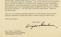 Signed Letter of Dwight Eisenhower | Raab Collection