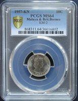 PCGS MS-64 BU 1957-KN Malaya Nickel 10 Cent UNC Uncirculated Key Date # 425