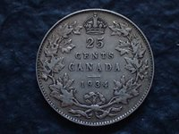 1934, 25 cents, Lot 01, Canada, Free shipping in Canada