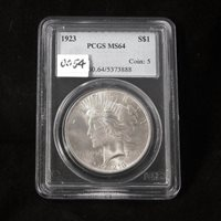 1923 Silver Peace Dollar, PCGS Certified MS64, Gem Uncirculated
