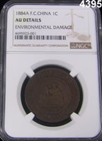 1884 A COCHIN CHINA 1 CENT RARE NGC CERTIFIED AU DETAILS ENVIRON. DAMAGE #4395