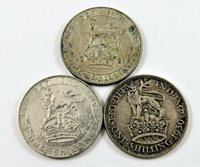 LOT OF (3) GREAT BRITAIN SILVER ONE SHILLING COINS DATED 1921 1926 1930.