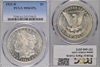 1921-D MS61 PL PCGS $1