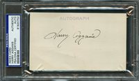 Scarce Harry Agganis Signed Autographed 3X5 Index Card PSA/DNA Encapsulated