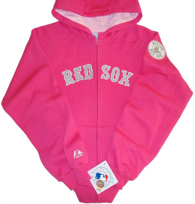 more photos 45caf ebb78 Boston Red Sox Majestic MLB Lead Off Full Zip Hoodie Pink Youth Girls Sizes  NWT